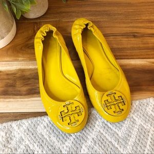 Tory Burch Yellow Patent Leather Reva Flats